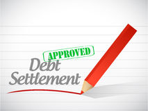 Approved debt settlement message illustration Stock Photography