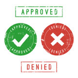 Approved and Denied Stamps. Vector format. Only solid fills used Stock Images