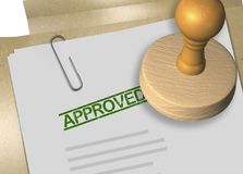 Approved document concept. 3D illustration of APPROVED stamp title on business document or contract Stock Images