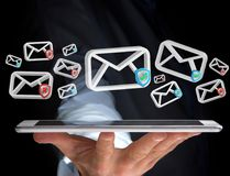 Approved email and spam message displayed on a futuristic interf. View of Approved email and spam message displayed on a futuristic interface - Message and Royalty Free Stock Photo