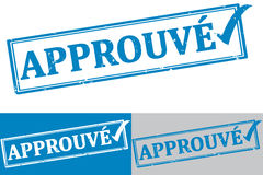 Approved French: Approuve rubber stamp / label Royalty Free Stock Images