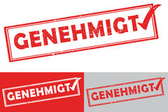 Approved German language: Genehmigt rubber stamp Royalty Free Stock Photo