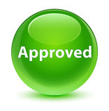 Approved glassy green round button Royalty Free Stock Images