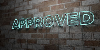 APPROVED - Glowing Neon Sign on stonework wall - 3D rendered royalty free stock illustration Royalty Free Stock Image