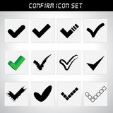 Approved icon set. For design royalty free illustration