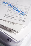 Approved Invoices. Close Up Of Approved Invoices On Top Of Each Other Stock Photos