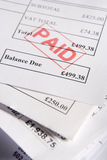 Approved Invoices. Close Up Of Approved Invoices On Top Of Each Other Stock Photo