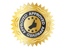 Approved label Stock Photo