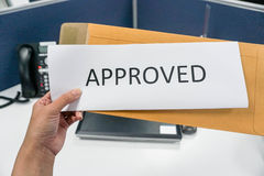 Approved letter. From the brown envelope Royalty Free Stock Image