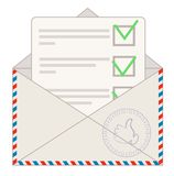 Approved  loan application sticking out of mailbox Royalty Free Stock Images