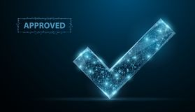 Approved. Low poly wireframe approved sign with dots and stars. Illustration or background stock illustration