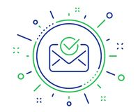 Approved mail line icon. Accepted or confirmed sign. Vector. Approved mail line icon. Accepted or confirmed sign. Document symbol. Quality design elements stock illustration