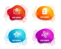 Approved mail, Sharing economy and Handout icons. Payment exchange sign. Vector. Liquid badges. Set of Approved mail, Sharing economy and Handout icons. Payment stock illustration