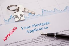 Approved Mortgage Application. Paper Working stock image