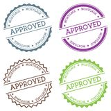 Approved mortgage badge isolated on white. Approved mortgage badge isolated on white background. Flat style round label with text. Circular emblem vector Stock Photography