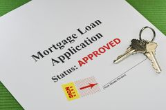 Approved Mortgage Loan Ready For Signature. Approved Real Estate Mortgage Loan Document Ready For Signature With House Keys royalty free stock photos
