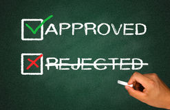 Approved not rejected. Concept with checkbox royalty free stock photos