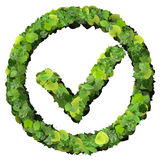 Approved, ok, like, eco sign made from green leaves. 3D render. Royalty Free Stock Images
