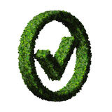 Approved, ok, like, eco sign made from green leaves. 3D render. Royalty Free Stock Photo