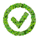 Approved, ok, like, eco sign made from green leaves. 3D render. Stock Images