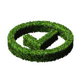 Approved, ok, like, eco sign made from green leaves. 3D render. Stock Photos
