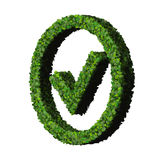 Approved, ok, like, eco sign made from green leaves isolated on white background. 3D render. Royalty Free Stock Photos