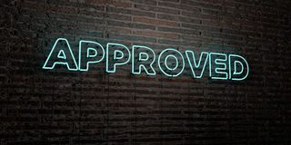APPROVED -Realistic Neon Sign on Brick Wall background - 3D rendered royalty free stock image Royalty Free Stock Photos
