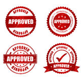 Approved red grunge rubber stamp collection. On white, illustration vector illustration
