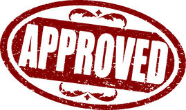 Approved red rubber stamp. Stock Photos