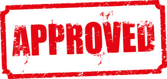 Approved red rubber stamp. Royalty Free Stock Photos