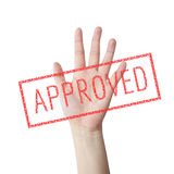 Approved red stamp hand concept Royalty Free Stock Photo