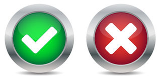 Approved and rejected buttons. On white background Royalty Free Stock Photography