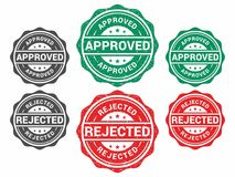 Approved & Rejected Stamp. Grunge Rubber Green Approved & Rejected stamp isolated white background, file of vector illustrator vector illustration