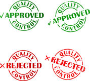 Approved and rejected ink stamps Stock Image