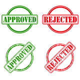 Approved and rejected ink stamps Stock Photo
