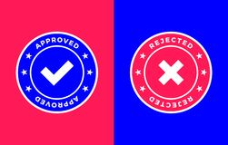 Approved and Rejected mark, Positive and negative label. Approved and Rejected marks, Positive and negative labels, vector illustration Stock Photo