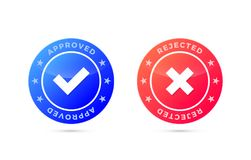 Approved and Rejected mark, Positive and negative label. Approved and Rejected marks, Positive and negative labels, vector illustration Stock Image