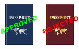 Approved and rejected passport Royalty Free Stock Images