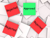 Approved Rejected Post-It Notes Means Approval Royalty Free Stock Images