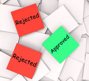 Approved Rejected Post-It Notes Show Passed Or Stock Image