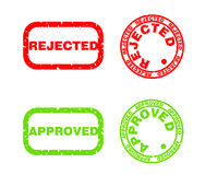Approved and rejected print. Approved and rejected stamp, squared and circular. Grunge style Stock Photos