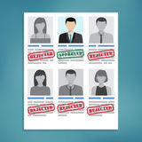 Approved and rejected resumes. royalty free stock photos