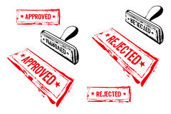 Approved and rejected rubber stamp Royalty Free Stock Photos
