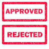 Approved and rejected rubber stamps isolated. Illustration of approved and rejected rubber stamps isolated over a white background stock illustration