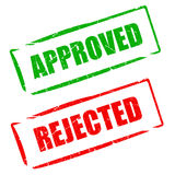 Approved rejected stamp. Approved and rejected stamps set vector illustration