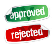 Approved and rejected stickers Royalty Free Stock Images