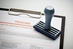 Approved resume for a new job. Image stock image