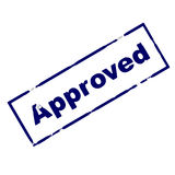 Approved Rubber ink stamp. Rubber ink stamp approved Stock Photography