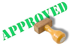 Approved rubber stamp. Isolated in white Royalty Free Stock Photo