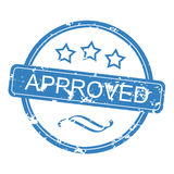 Approved Rubber Stamp. Useful blue rubber stamp on white background Royalty Free Stock Images